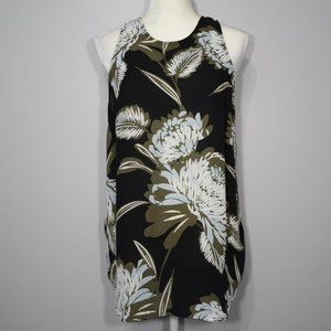 Who What Where Black Floral Sleeveless Blouse